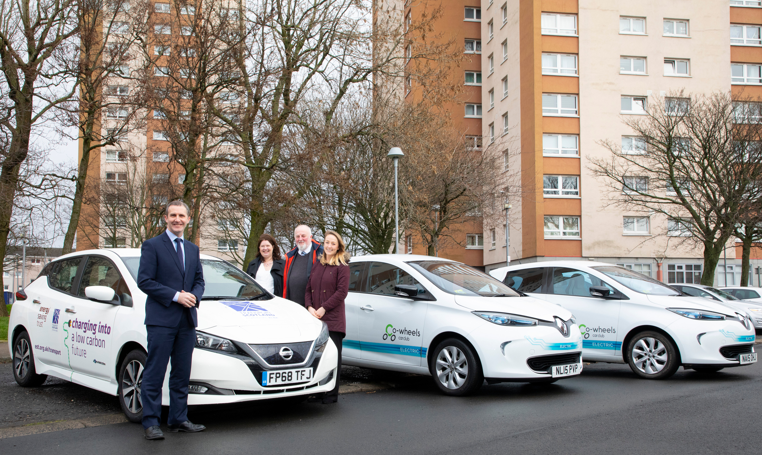 From Left Transport Secretary Michael Matheson Evelyn Mcdowall Director Of Group Ets At Wheatley Tony Archer Co Wheels And Ellie Grebenik